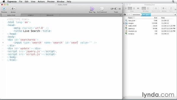 Preparing a live search AJAX app: JavaScript and AJAX