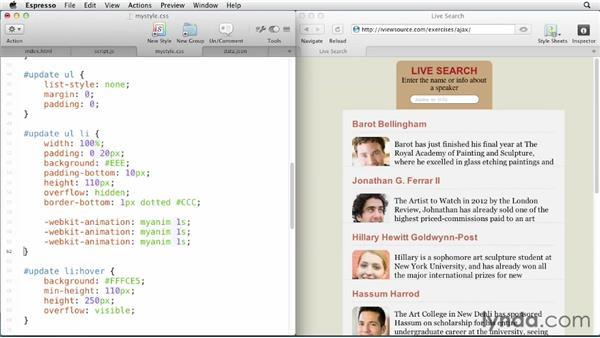 Adding CSS3 animations: JavaScript and AJAX