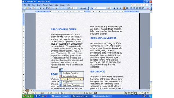 paste text formatting: Word 2003 Essential Training