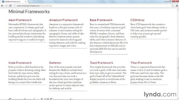 Additional resources: CSS: Frameworks and Grids
