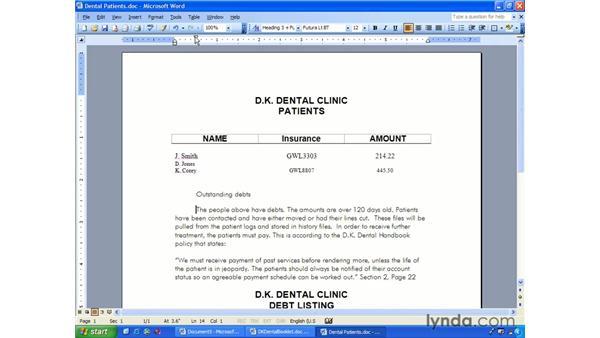 indent: Word 2003 Essential Training