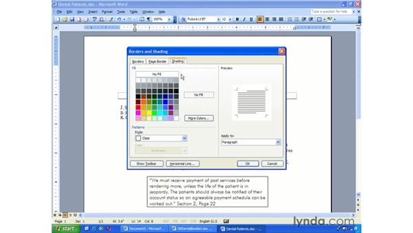 borders and shading: Word 2003 Essential Training