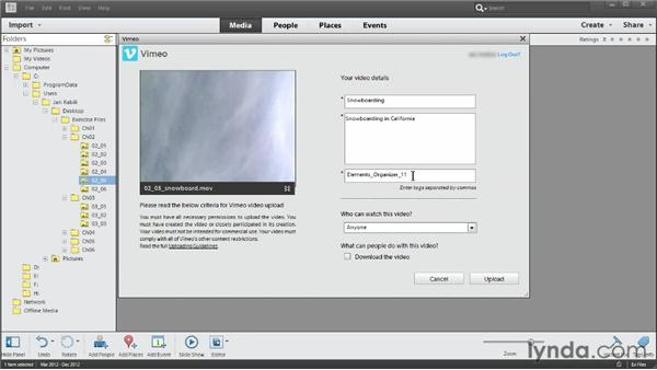 Sharing videos on Vimeo: Photoshop Elements 11 Essentials: 03 Sharing and Printing Photos
