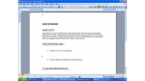 page orientation: Word 2003 Essential Training