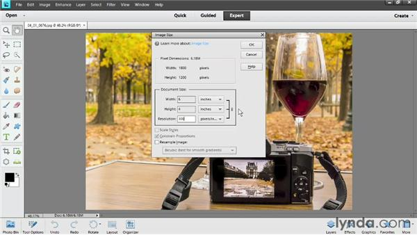 Setting image size and resolution for print: Photoshop Elements 11 Essentials: 03 Sharing and Printing Photos