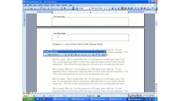 headers footers numbering: Word 2003 Essential Training