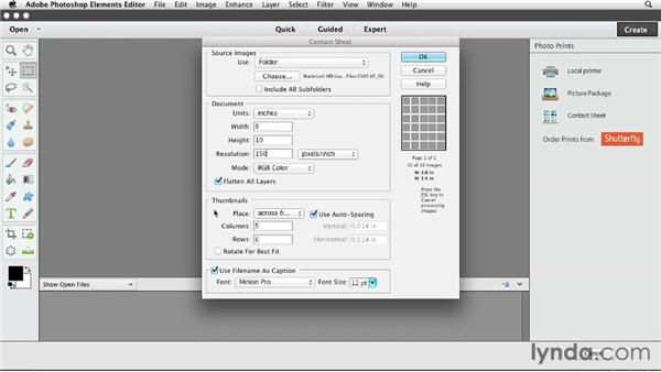 Printing contact sheets on Macs: Photoshop Elements 11 Essentials: 03 Sharing and Printing Photos