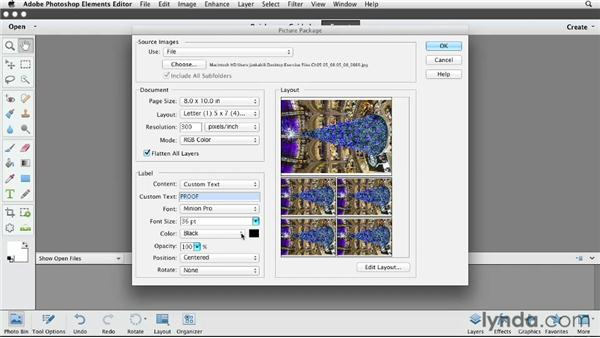 Printing picture packages on Macs: Photoshop Elements 11 Essentials: 03 Sharing and Printing Photos