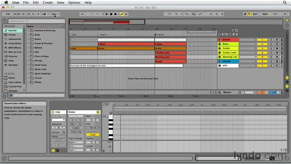 Exploring the Arrangement view: Up and Running with Ableton Live 9