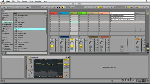 Grouping and using bus tracks: Up and Running with Ableton Live 9