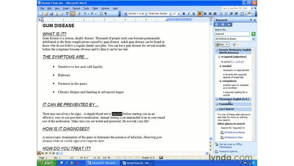 thesaurus: Word 2003 Essential Training