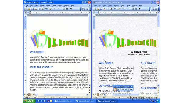 compare side-by-side: Word 2003 Essential Training