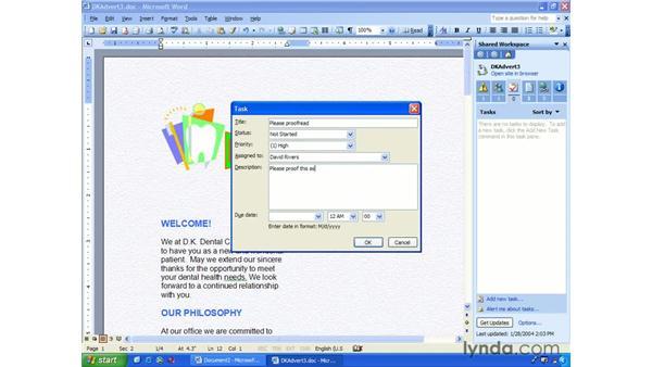 assign tasks: Word 2003 Essential Training