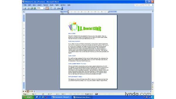 print preview: Word 2003 Essential Training