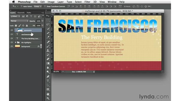 Clipping a layer into a text layer: Design the Web: Clipping Masks