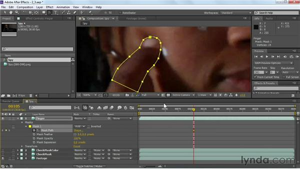 Rotoscoping the foreground: VFX Techniques: Tracking Objects onto a Face