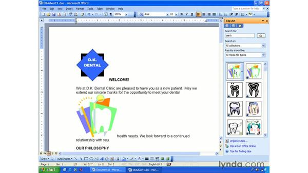 clipart: Word 2003 Essential Training