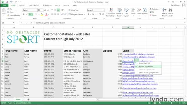 Filling empty cells using Flash Fill: Office 2013 New Features