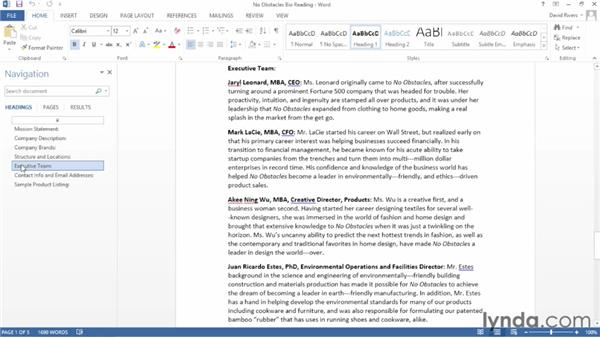 Opening, closing, and reading documents: Word 2013 Essential Training
