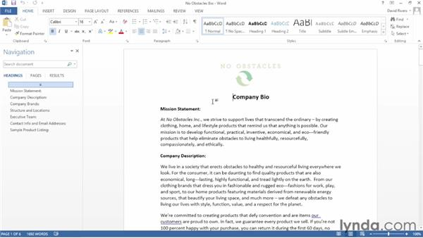 Opening and editing PDF documents: Word 2013 Essential Training