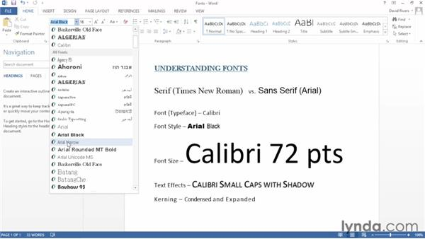 Introduction to fonts: Word 2013 Essential Training