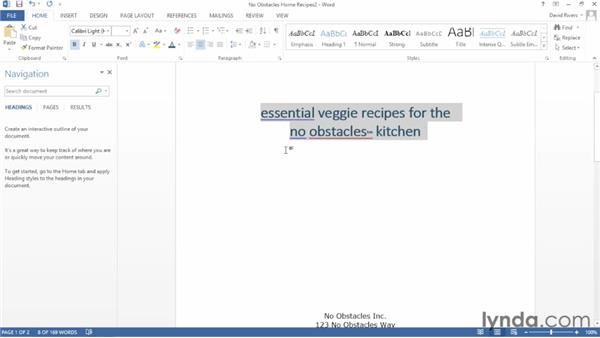 Changing text case: Word 2013 Essential Training