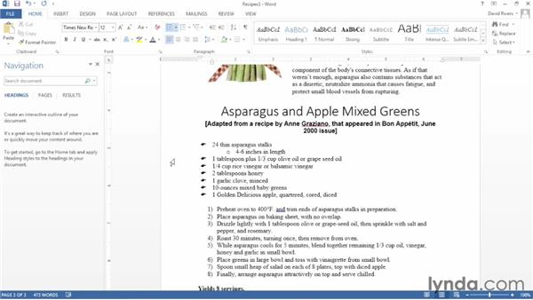Creating levels in a list: Word 2013 Essential Training