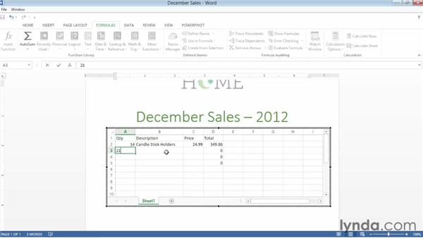 Inserting an Excel table: Word 2013 Essential Training
