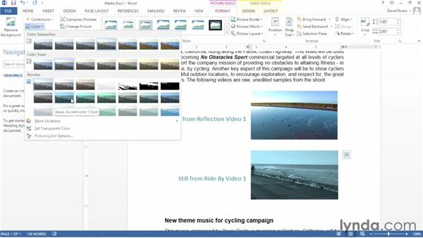 Adjusting photos in a document: Word 2013 Essential Training