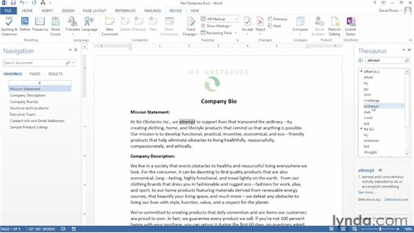 Using the thesaurus, research, and translation tools: Word 2013 Essential Training