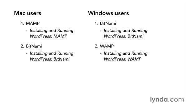Overview of options: BitNami, WAMP, MAMP, and WebMatrix: Installing and Running WordPress: WAMP