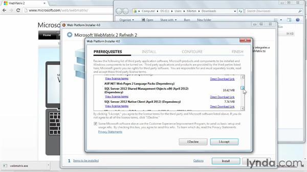 Installing WebMatrix: Installing and Running WordPress: WebMatrix