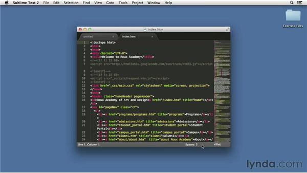 Touring the interface: Up and Running with Sublime Text 2