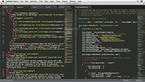 Working on multiple files at once: Up and Running with Sublime Text 2