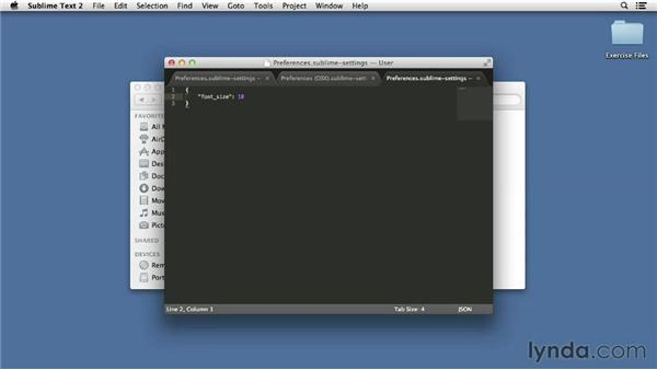 Changing preferences: Up and Running with Sublime Text 2