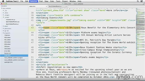 Expanding selections of code: Up and Running with Sublime Text 2