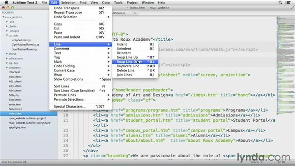 Transposing and swapping code: Up and Running with Sublime Text 2