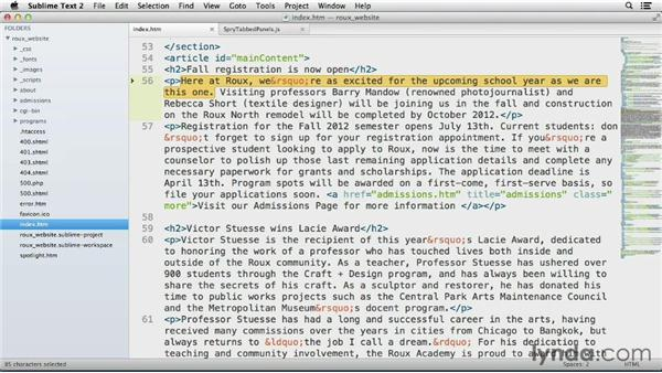 Bookmarking a position in the file: Up and Running with Sublime Text 2