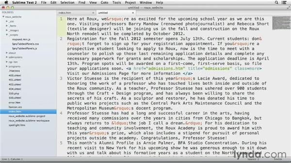 Using multiple selections to edit large amounts of text: Up and Running with Sublime Text 2