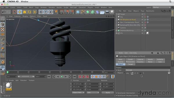 Lighting selectively with inclusion and exclusion lists: Production Rendering Techniques in CINEMA 4D