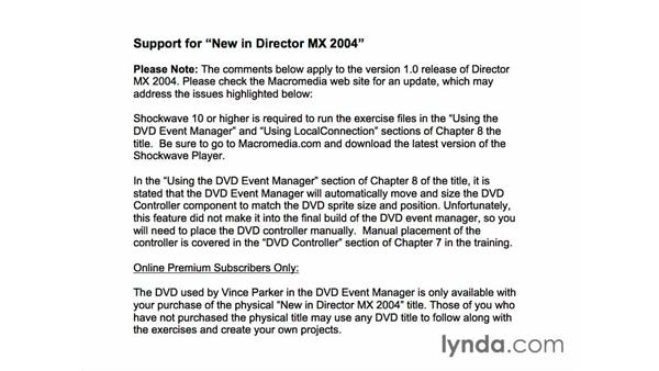 please read - Director MX 2004 support: New in Director MX 2004