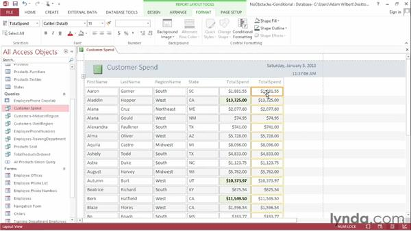 Applying conditional formatting rules: Access 2013 Essential Training