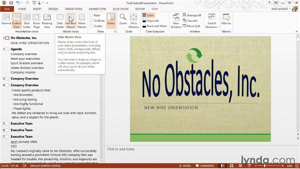 Changing views and adding guides: PowerPoint 2013 Essential Training