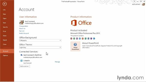 Connecting Powerpoint to your SkyDrive account: PowerPoint 2013 Essential Training