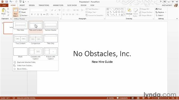 Creating a presentation from scratch and saving: PowerPoint 2013 Essential Training