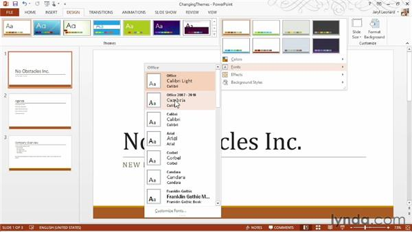 Changing themes: PowerPoint 2013 Essential Training