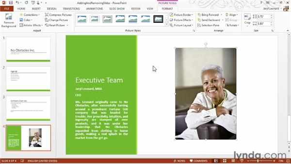 Adding and removing slides: PowerPoint 2013 Essential Training