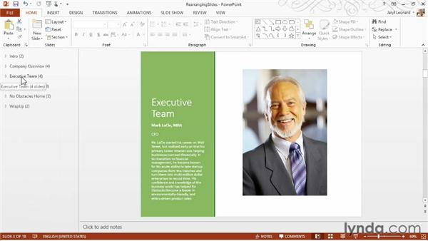 Rearranging slides: PowerPoint 2013 Essential Training