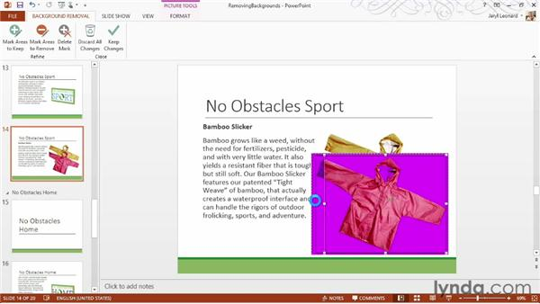 Removing the background from pictures: PowerPoint 2013 Essential Training