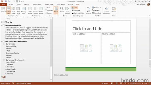 Using Outline mode to edit content directly: PowerPoint 2013 Essential Training